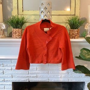 Anthropologie Guinevere Ski Lift Orange Cardigan
